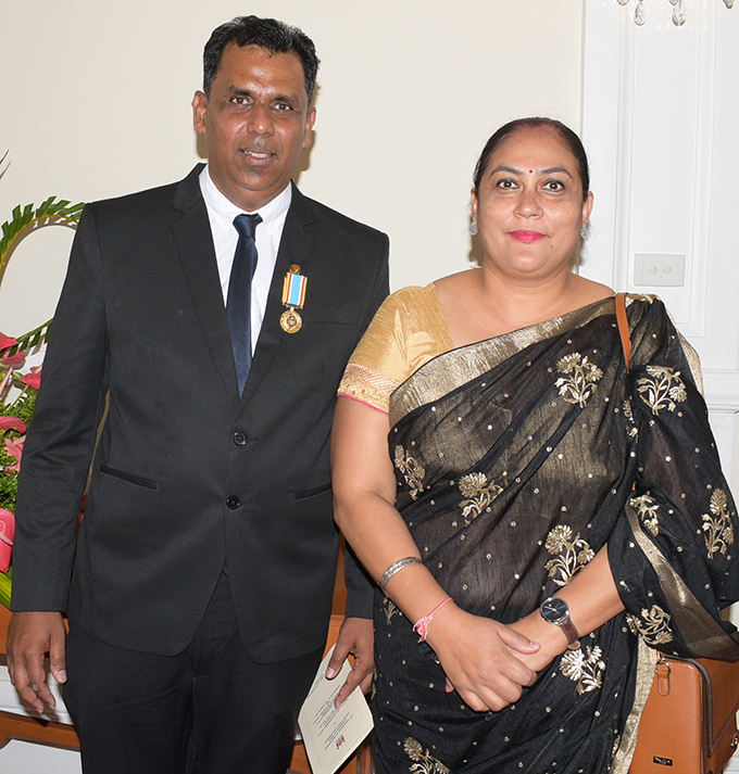 Akhilesh Prasad with wife, Nela Prasad following the 50th anniversary of Independence commemorative medal from President Jioji Konrote at State House on October 27, 2020. Photo: Ronald Kumar.