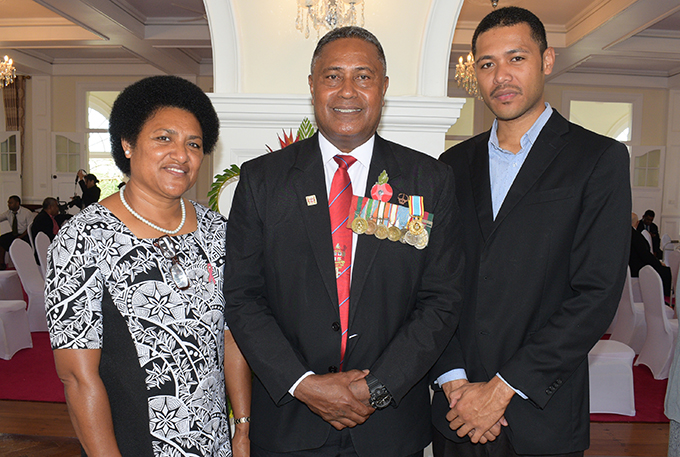 WO Class 1 Alexander Masima (middle) with wife Makareta Salewai and son, Josefa Takalaivuna after following the 50th anniversary of Independence commemorative medal from President Jioji Konrote at State House on October 27, 2020. Photo: Ronald Kumar.