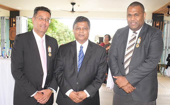 From left) Resident Magistrate Chaitnya Lakshman , Acting Chief Justice Kamal Kumar and Chief Magistrate Usaia Ratuvili after receiving 50th anniversary of Independence commemorative medal from President Jioji Konrote at State House on October 27, 2020. Photo: Ronald Kumar.