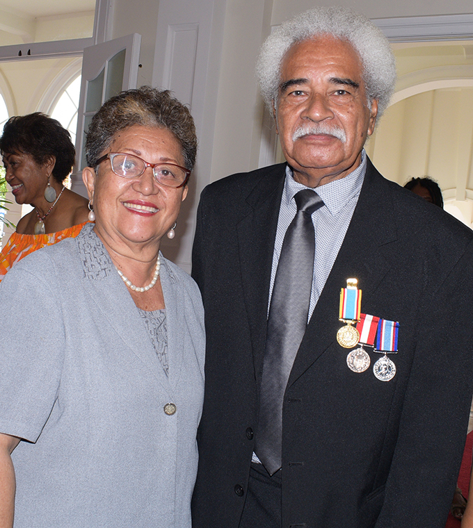 Manoa Rasigatale with wife Agnus Rasigatale after receiving 50th anniversary of Independence commemorative medal from President Jioji Konrote at State House on October 27, 2020. Photo: Ronald Kumar.