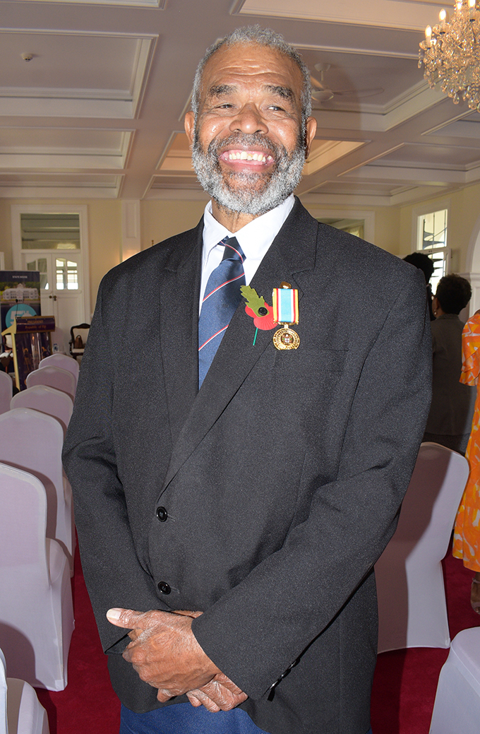 Former Flying Fijian and retire Poilce officer, Severo Koroduadua after receiving 50th anniversary of Independence commemorative medal from President Jioji Konrote at State House on October 27, 2020. Photo: Ronald Kumar.