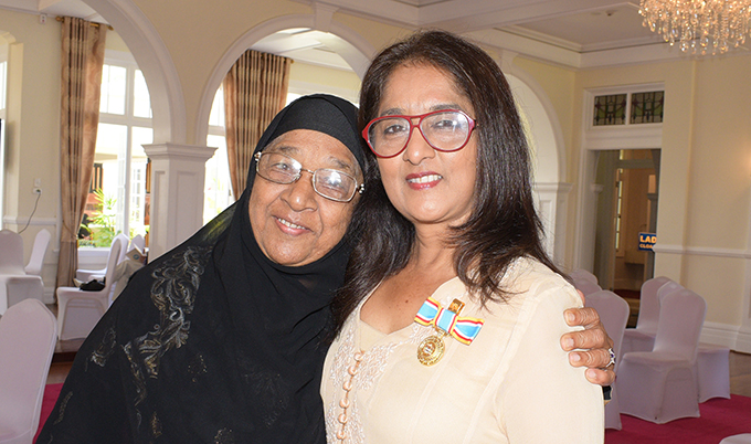 Shaenaz Voss Fiji Link Executive General Manager Corporate Communication (right) with her mother Asha Khan after receiving 50th anniversary of Independence commemorative medal from President Jioji Konrote at State House on October 27, 2020. Photo: Ronald Kumar.
