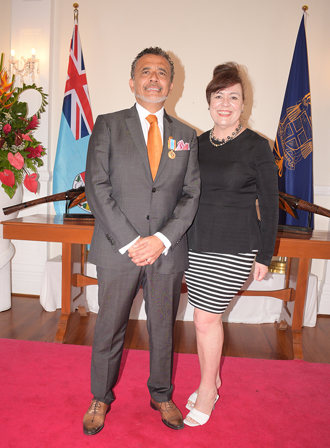 Anthony Whitton and Brigid Whitton after receiving 50th anniversary of Independence commemorative medal from President Jioji Konrote at State House on October 27, 2020. Photo: Ronald Kumar.