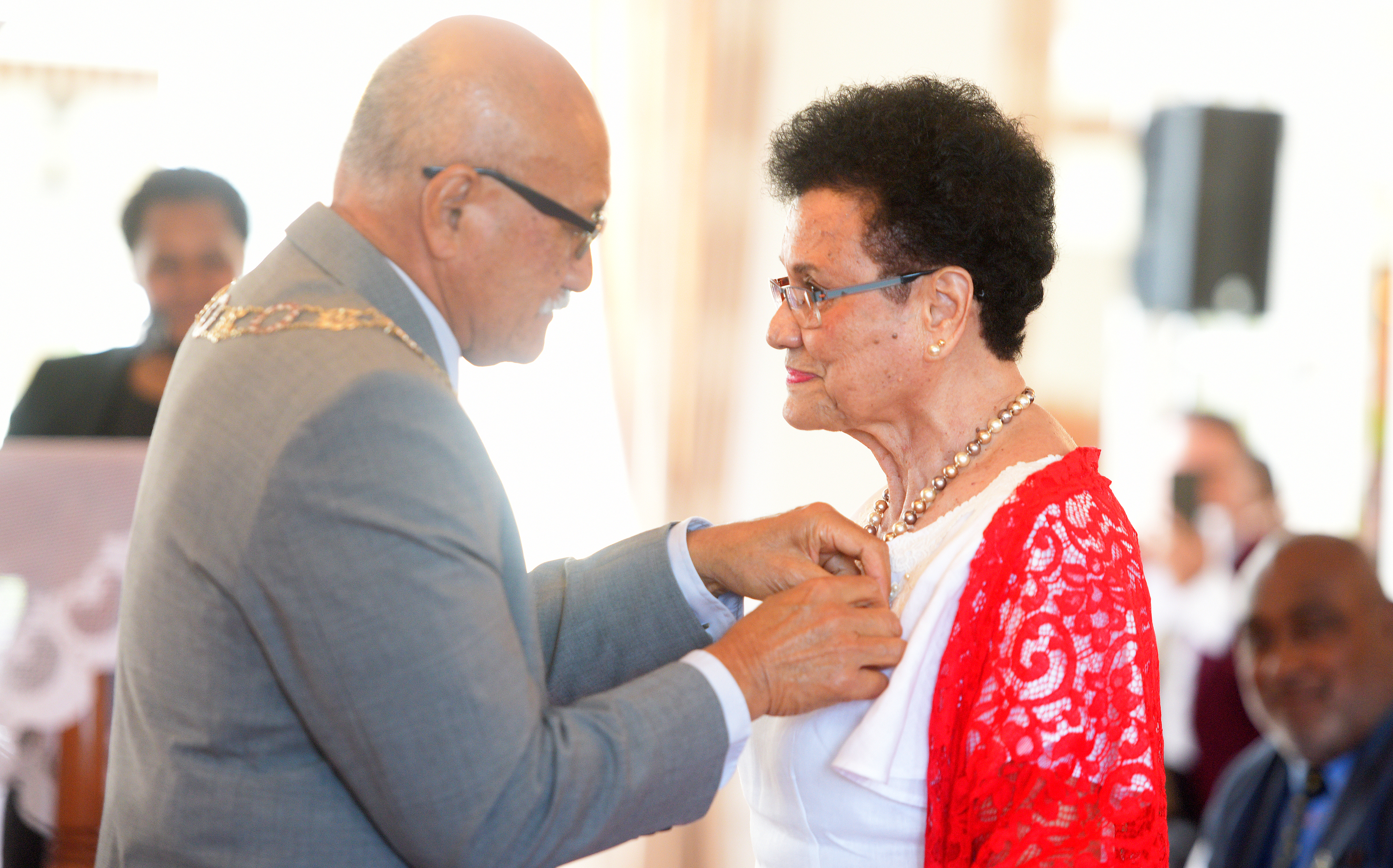 President Jioji Konrote awards Dr. Mere Samisoni with 50th anniversary of Independence commemorative medal during special investiture ceremony at State House on October 13, 2020. Photo: Ronald Kumar.