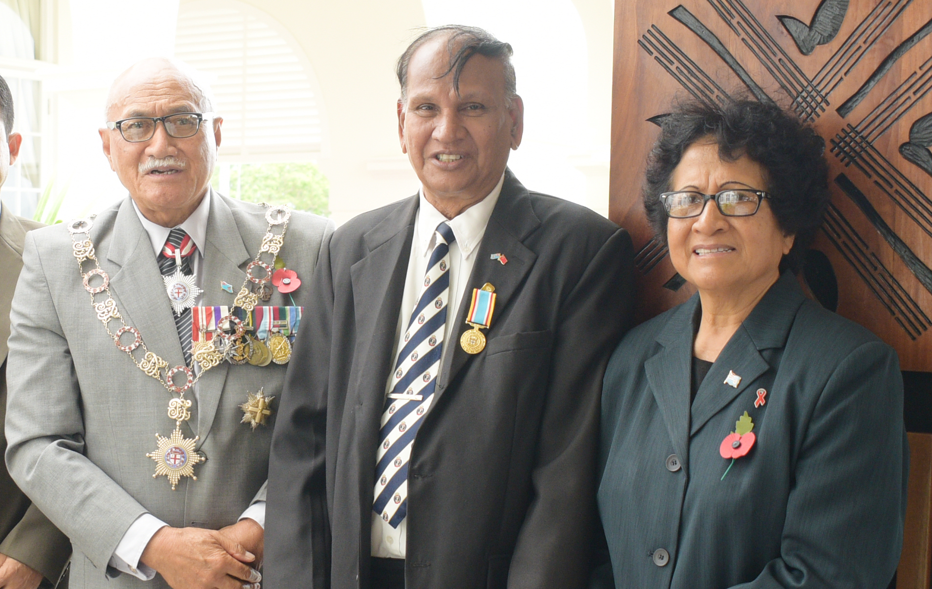 President Jioji Konrote and Firstlady, Sarote Konrote with Krishan Vilash following the 50th anniversary of Independence commemorative medal during special investiture ceremony at State House on October 13, 2020. Photo: Ronald Kumar.