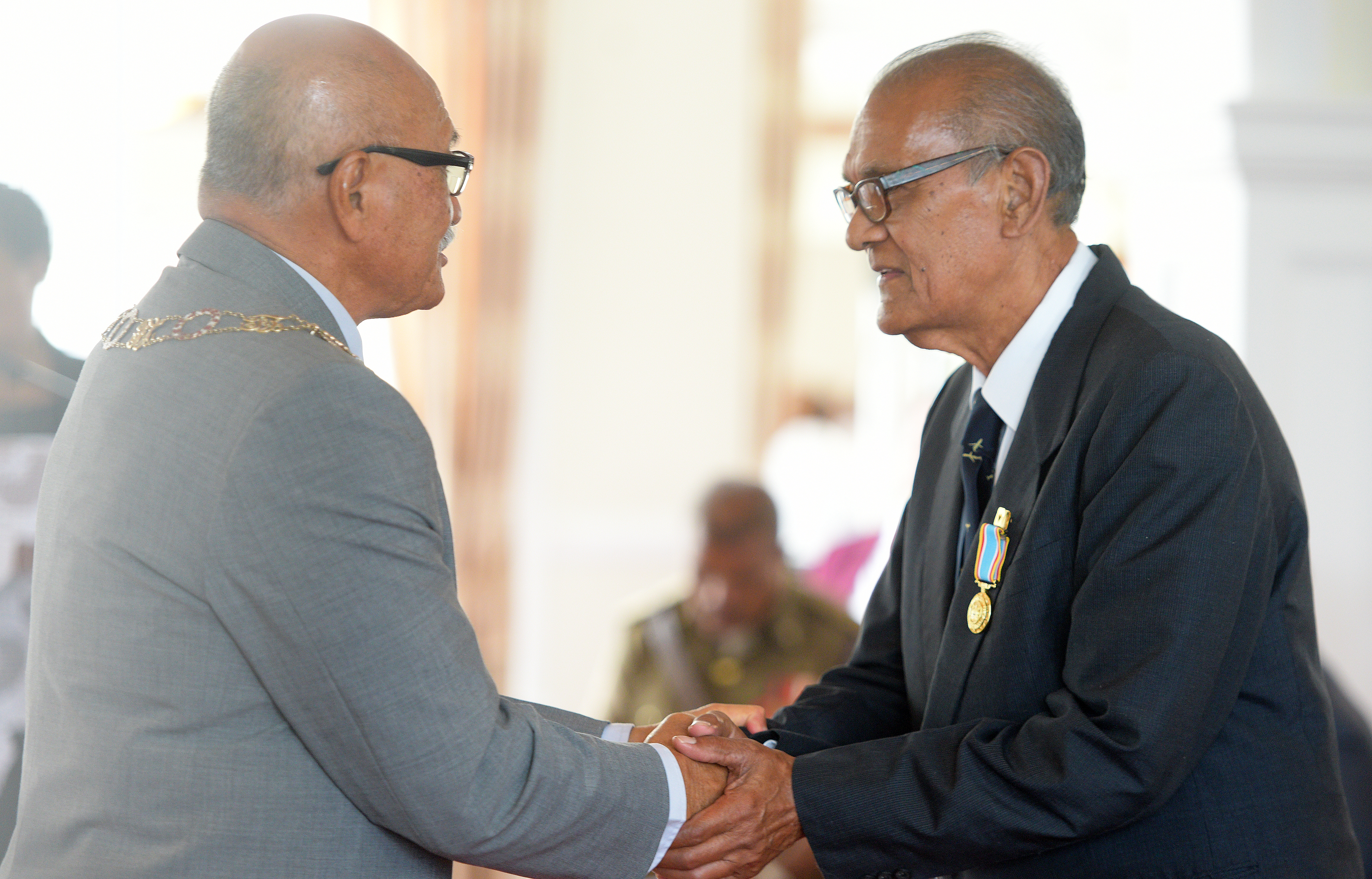 President Jioji Konrote awards Raj Sharma with 50th anniversary of Independence commemorative medal during special investiture ceremony at State House on October 13, 2020. Photo: Ronald Kumar.
