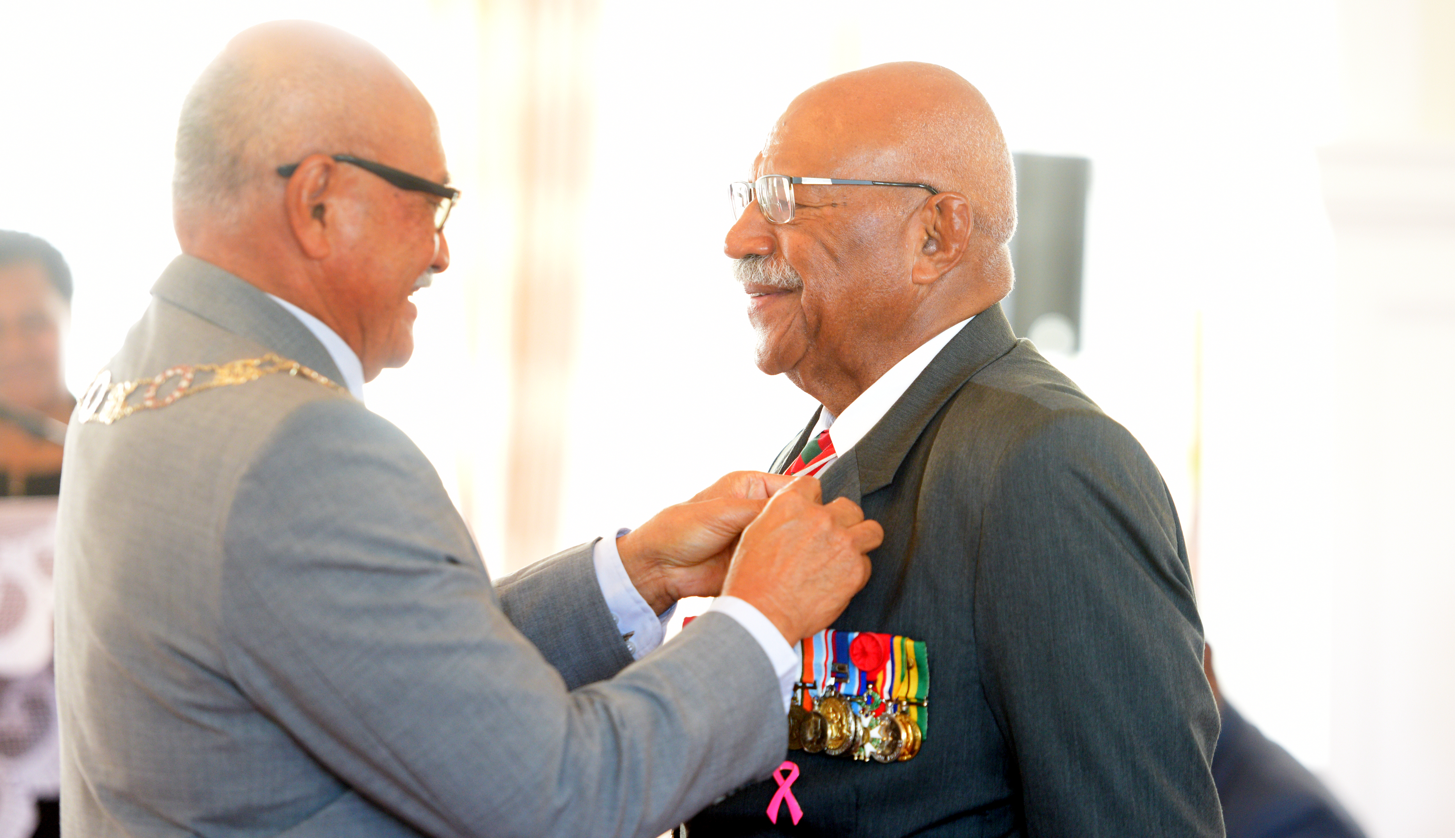 President Jioji Konrote awards Sitiveni Rabuka with 50th anniversary of Independence commemorative medal during special investiture ceremony at State House on October 13, 2020. Photo: Ronald Kumar.