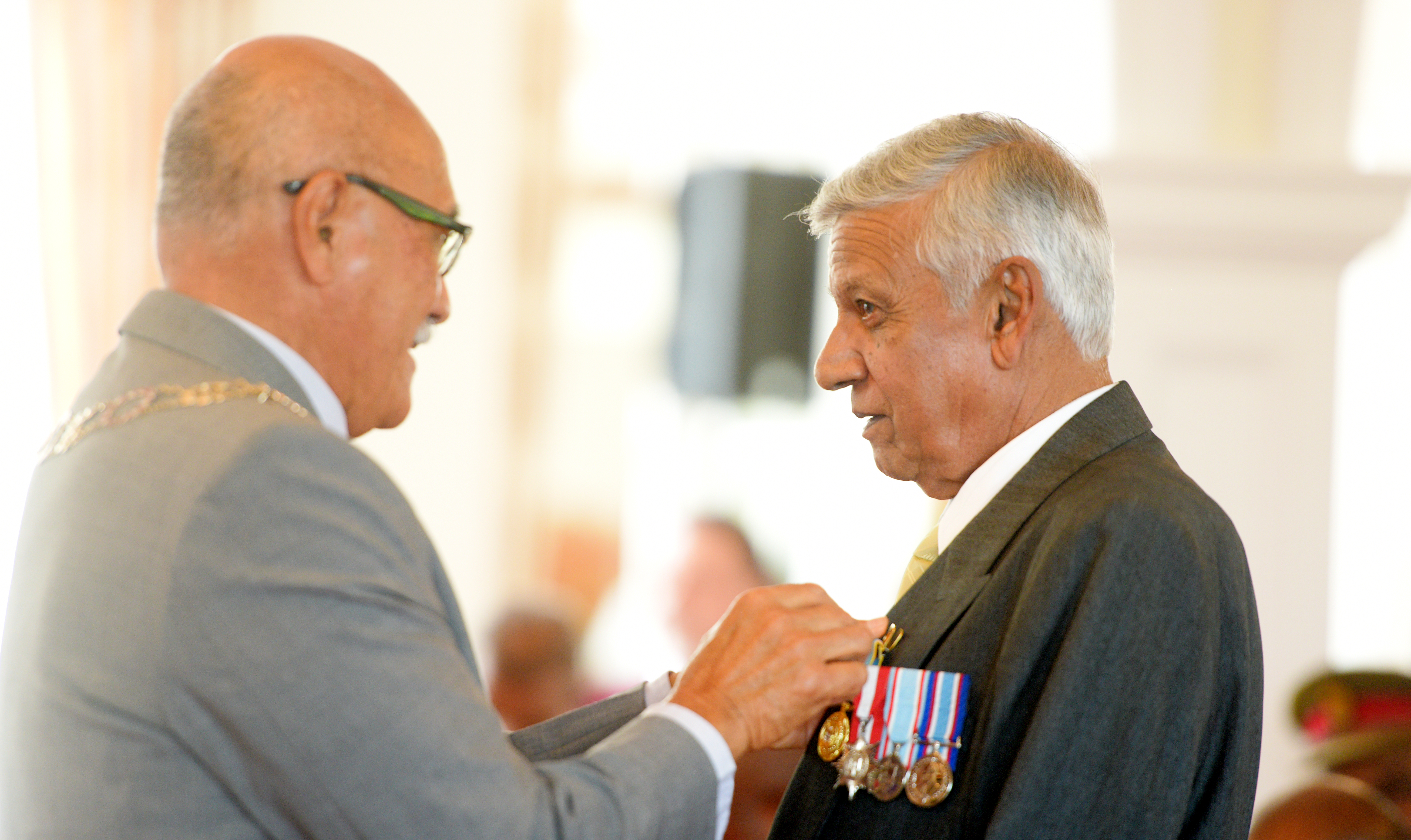 President Jioji Konrote awards Joel Sahai with 50th anniversary of Independence commemorative medal during special investiture ceremony at State House on October 13, 2020. Photo: Ronald Kumar.