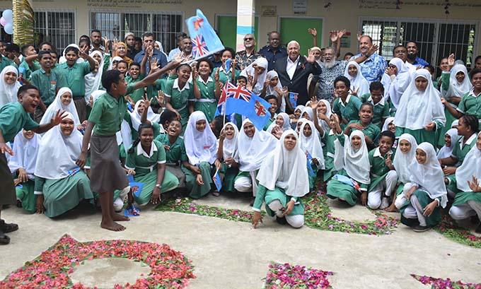 PM with officials and the Nadi Muslim Primary School student. Photo: Mereleki Nai