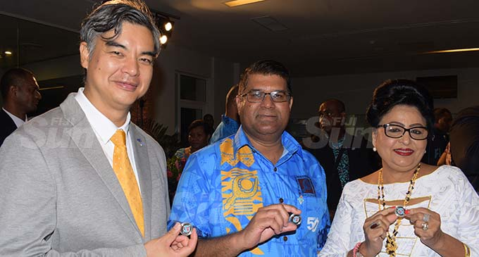 From left-European Union (EU) Ambassador to Pacific, His Excellency Sujiro Seam, Reserve Bank Governor Ariff Ali and Assistant Minister for Women Veena Bhatnagar with the new fifty cent coin following the launching of Fiji's 50 year of Independence commemorative banknote and coin by Reserve Bank of Fiji at Grand Pacific Hotel on October 7, 2020. Photo: Ronald Kumar.