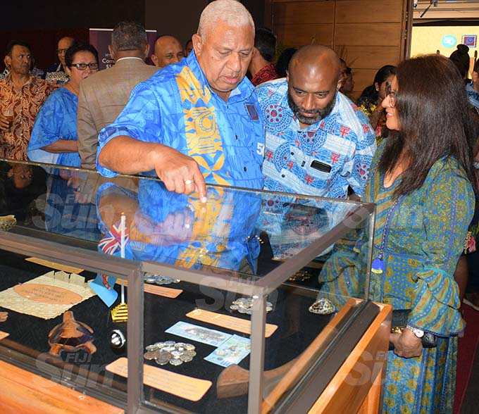 From left -Prime Minister Voreqe Bainimarama, Minister for Health Dr Iferemi Waqainabete and Shaenaz Voss, Fiji Link Executive General Manager Group Corporate International and Government Affairs, during the launching of Fiji's 50 year of Independence commemorative banknote and coin by Reserve Bank of Fiji at Grand Pacific Hotel on October 7, 2020. Photo: Ronald Kumar.