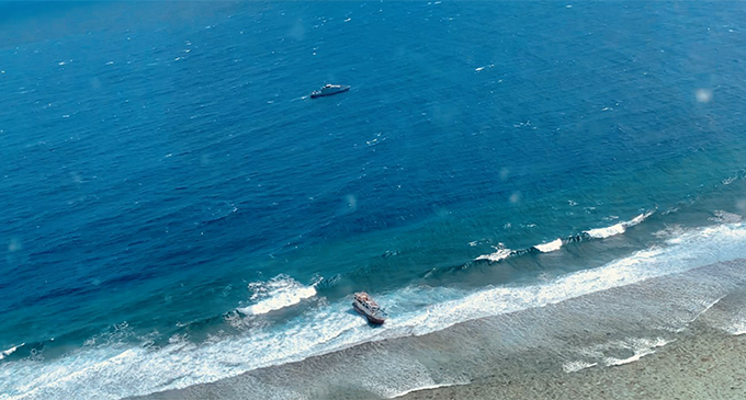 The Taiwanese registered vessel, Fu Ying aground at Navatu Reef in the Lau waters. Photo: RFMF Naval Division