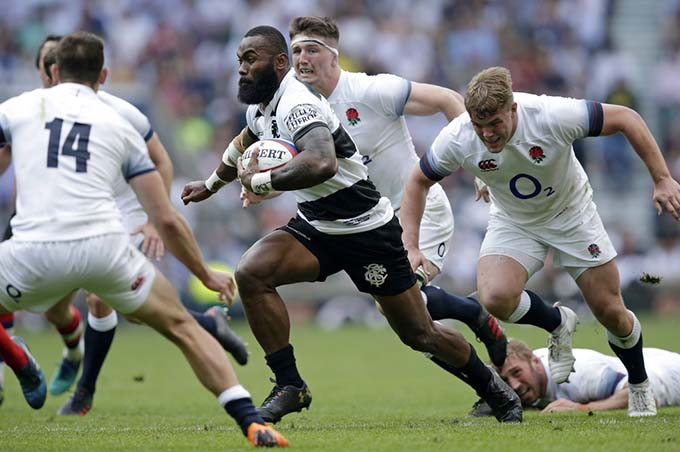 Flying Fijian star Semi Radradra has also played alongside rugby legends for the Barbarians.