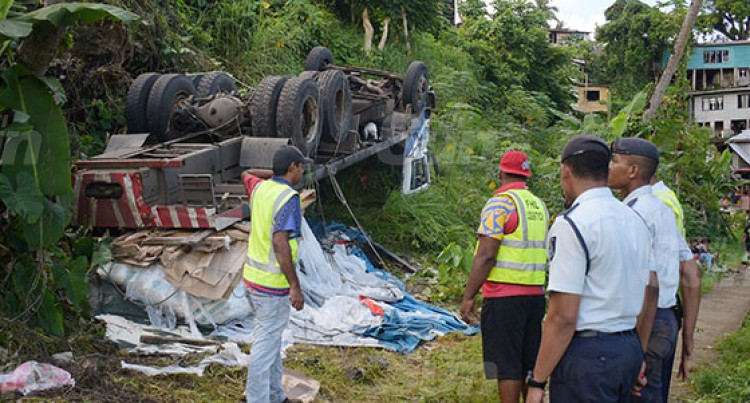 Truck Veers Off Road At Nauluvatu Settlement Along Reservoir Road