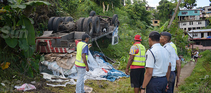 A ten wheeler truck veered of the road and tumbled as the driver lost control of the truck at Nauluvatu settlement along Reservoir Road, Suva on October 7, 2020.Photo: Ronald Kumar.