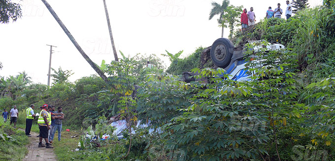 A ten-wheeler truck veered of the road and tumbled as the driver lost control of the truck at Nauluvatu settlement along Reservoir Road, Suva on October 7, 2020.Photo: Ronald Kumar.