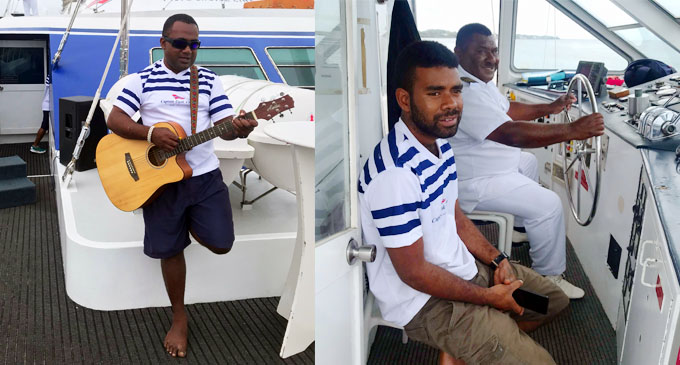 A Captain Cook Cruise member entertaining the guest and Captain Cook Cruises Fiji, Captain Saiasi Koroi and Engineer Tuimasi Tubananitu on board the Fiji One cruise vessel on October 25, 2020. Photo: