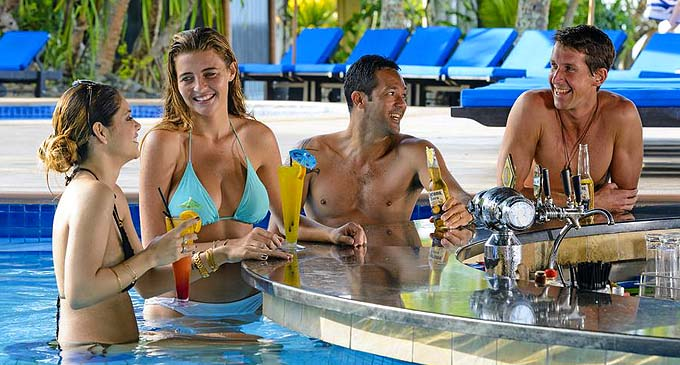 Guests enjoying themselves at the Pool Bar.