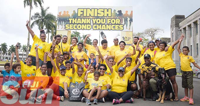 Fiji Corrections Service officials and yellow ribbon supporters during the annual yellow ribbon walk at Albert park on October 31, 2020. Photo: Ronald Kumar.