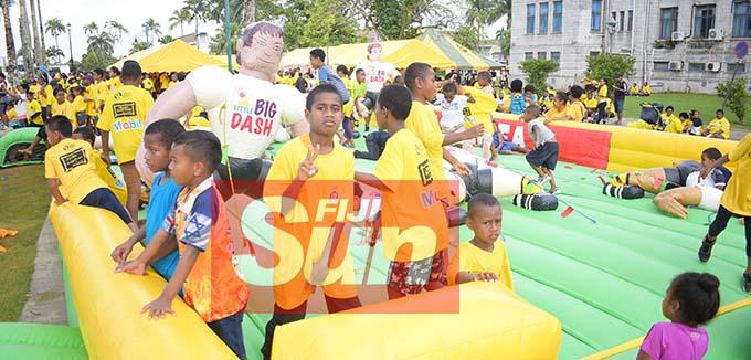 Children enjoy following the Fiji Corrections Service annual yellow ribbon walk at Albert park on October 31, 2020. Photo: Ronald Kumar.