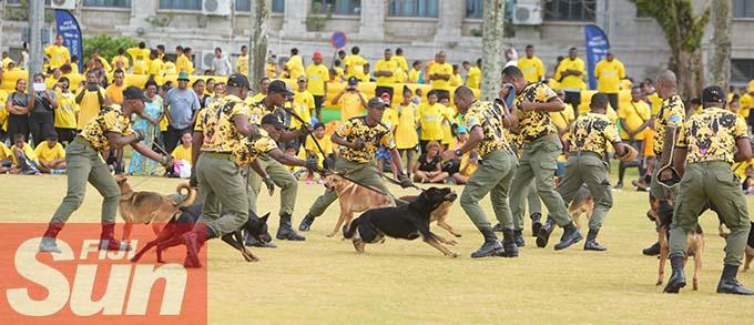 Fiji Corrections Service K9 unit put a display during their annual yellow ribbon walk at Albert park on October 31, 2020. Photo: Ronald Kumar.