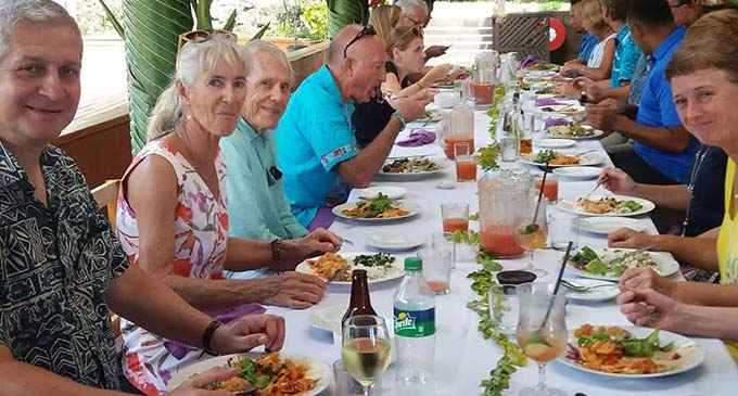 The then acting British High Commissioner Paul Welsh (left) hosted a highly enjoyable lunch at Savusavu's Daku Resort on August, 2020.