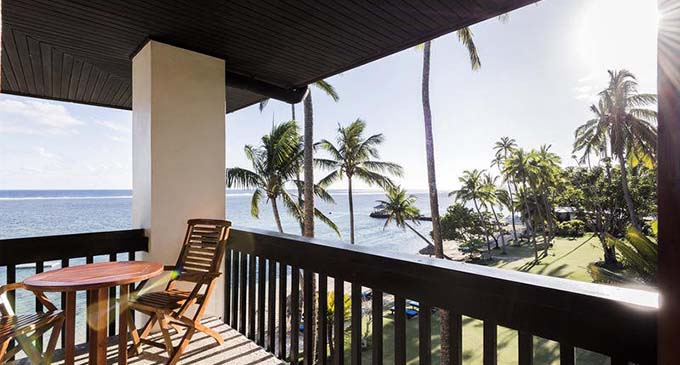 The view from a balcony at the Warwick Fiji.