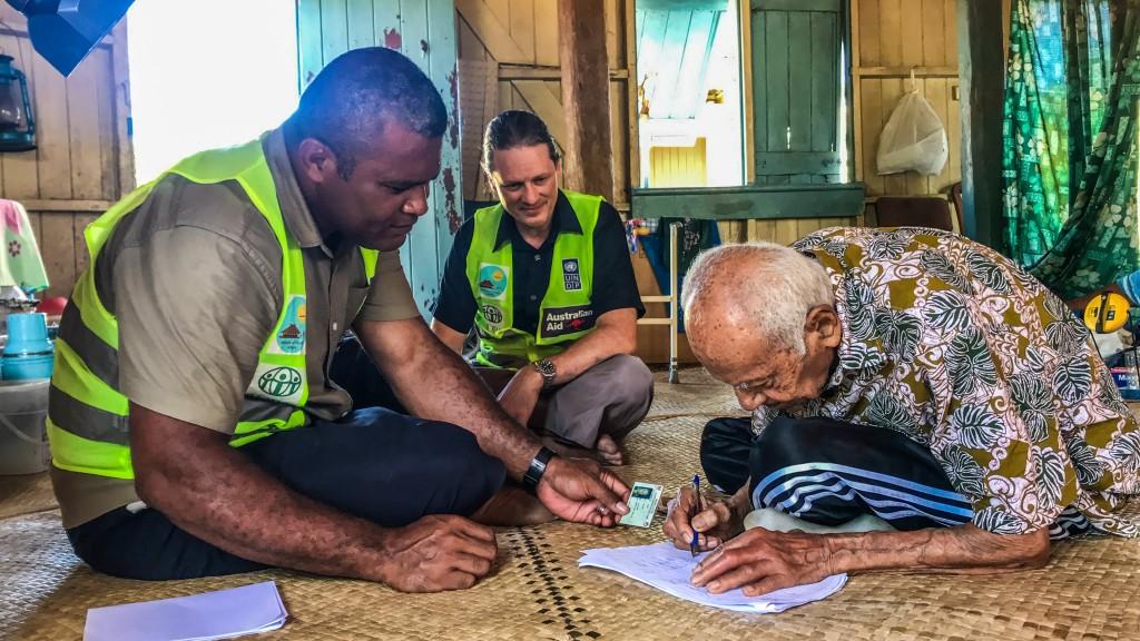 Tui Ono receives Cash Voucher Assistance (CVA). Photo: Adi Kelera Sovasiga.