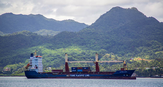 Mt Korobaba, the high peak on the right, as seen from the Suva Harbour. Photo: Leon Lord