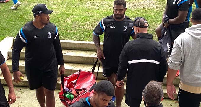 Flying Fijians winger Josua Tuisova ((right) at Beaublanc Stadium in Limoges, France on October 30, 2020.