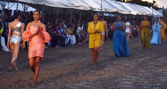 Models on the cat walk during the Fiji Fashion Week Resort Luxe Show at the Hilton Fiji Beach Resort and Spa, Denarau on November 28, 2020. Photo: Waisea Nasokia