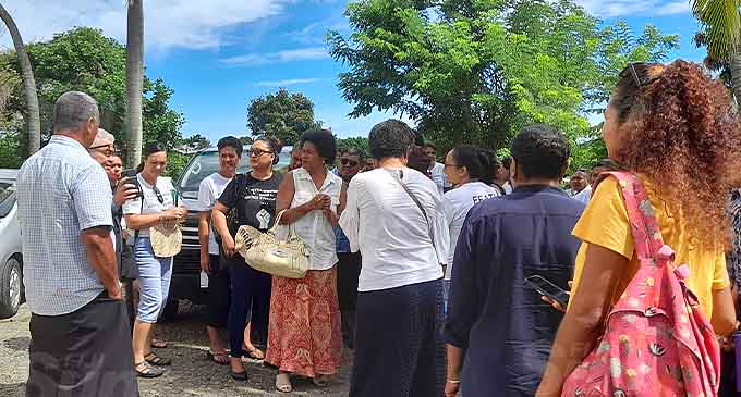 Munro Leys Lawyer Jon Apted speaking outside the court house in Nadi