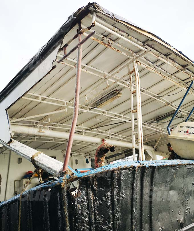 Damages allegedly sustained on the side of the South Island Shipping vessel Liahona 1 on November 6, 2020. Photo: Laiseana Nasiga