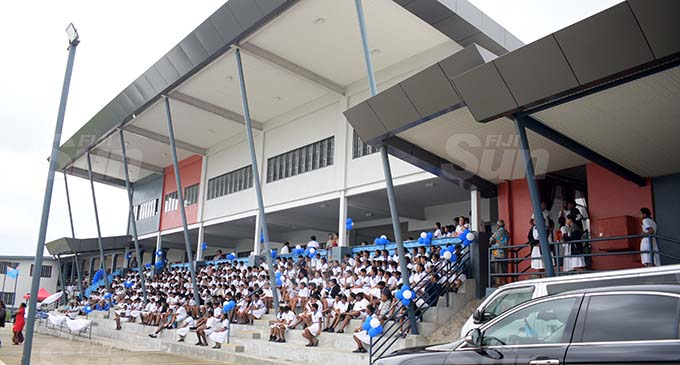 Mahatma Gandhi Memorial High School students at their new complex opening on November 5, 2020. Photo: Ronald Kumar.