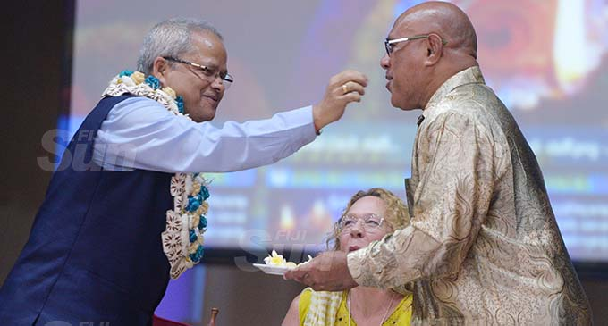 Acting Indian High Commissioner Sukanta Sahoo  (left) share the Diwali sweets with Suva City Council Special Administrator Chairman, Isikeli Tikoduadua and Special Administrator Kerry Mara during SCC staff Diwali celebration at Civic Centre on November 13, 2020. Photo: Ronald Kumar.