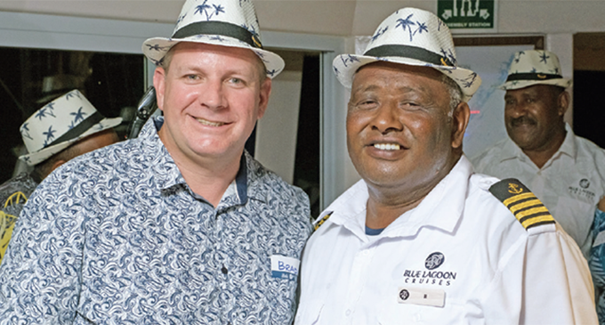 From left: Blue Lagoon Cruises chief executive officer Brad Rutherford and Captain Jitoko Gonevakarua