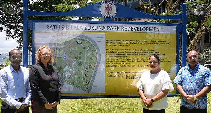 From left: Suva City Council Special Administrators Vimal Kumar and Kerry Mara, Minister for Local Government and Housing Premila Kumar and Special Administartor Chairman Isikeli Tikoduadua following the unveiling of the Ratu Sukuna Park re-development plan on November 10, 2020. Photo: Ronald Kumar