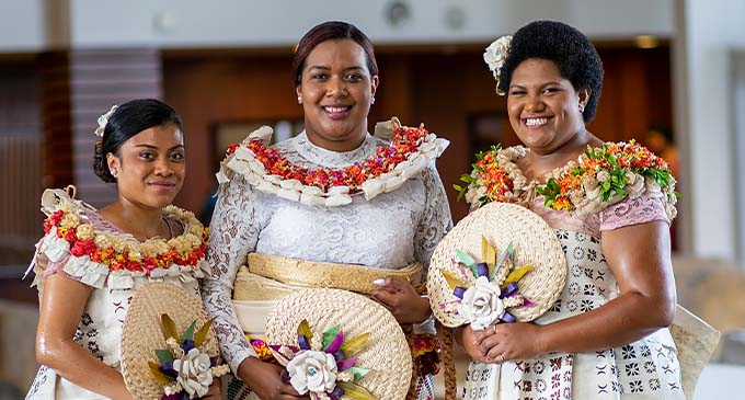 Bridesmaid Grace Loanakadavu (left) bride Ma'ata Matavewa and bridesmaid Michelle Balaikanaca at the Grand Pacific Hotel in Suva last week.