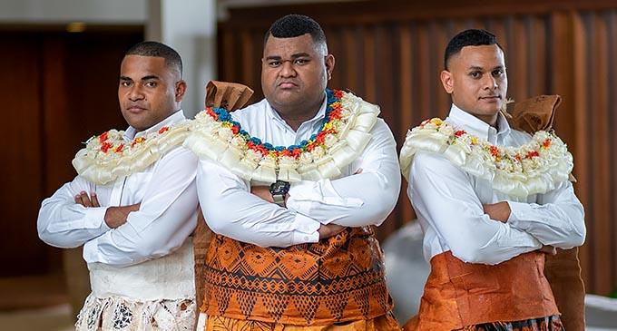 Groomsman Taniela Waqavere (left) groom Osea Korovou and Micheal Watta at the GPH in Suva last week