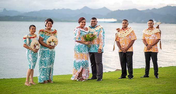 From left: Bridesmaids Grace Loanakadavu and Michelle Balaikanaca, bride Ma'ata Matavewa, groom Osea Korovou, with groomsmen Taniela Waqavere and Michael Watta outside the GPH in Suva last week.