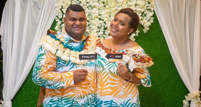 ewly-weds Osea Korovou and Ma'ata Matavewa. Photos: Leon Lord