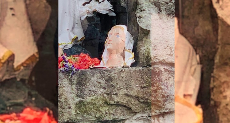 Sacred Heart Cathedral Mother Mary Statue Damaged