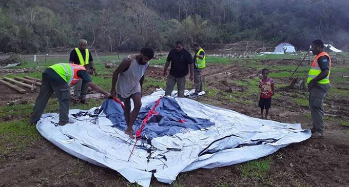 Four RFMF engineers were deployed to Cogea Village to build temporary shelters and repaire damaged houses.