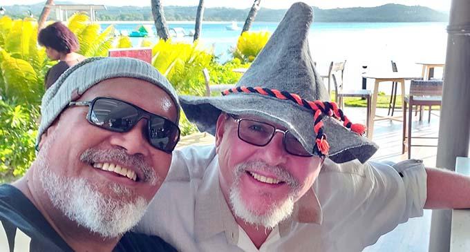 William BigWilz Waqanibaravi with Shangri-La's Fijian Resort and Spa executive chef Rudolf Kunkel