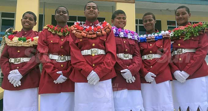 The Fiji Corrections Service new female recruits (from left): Dikaveni Tokailagi, Lavenia Seruqaranivalu, Ro Litiana Donumaitoga, Agnes Seru, Alumita Damudamu and Kelera Toroca at the Naboro Training Academy on December 22, 2020. Photo: Kelera Sovasiga