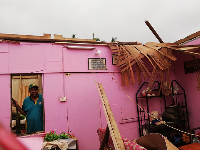 Damage to house caused by Cyclone Yasa.