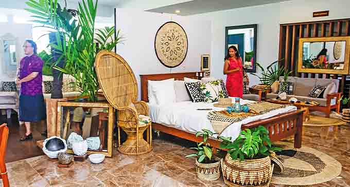 Several art pieces, cushions and lamps on display and for sale at the Loma ni Vale (Inside the House) exhibition at the Grand Pacific Hotel in Suva. Photo: Leon Lord
