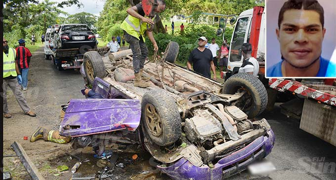 Authorities salvage the wrecked vehicle on December 25, 2020. INSET: Photo: Ronald Kumar INSET: One of the victims... Tei Ete Joe O'Brien.
