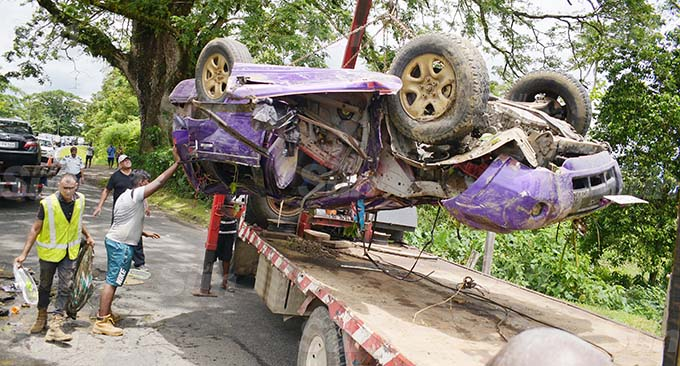 The wreckage of the vehicle pulled out of the creek at Drekai Nakelo in Tailevu on December 25, 2020. Photo: Ronald Kumar.