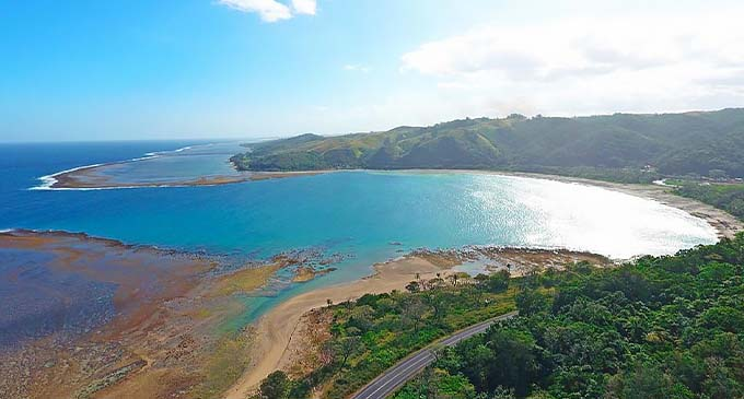 An aerial view of Sovi Bay